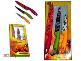 ست چاقو سه تکه سرامیکی  گل دار kitchenNife