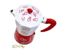 قهوه ساز اسپرسو  سفید  و قرمز با طرح قلب